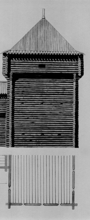 Рис.4. Мангазея. Давыдовская башня. Крадин Н.П. Русское деревянное оборонное зодчество. М., 1988. Рис.99.