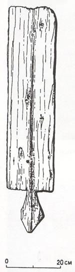 Рис.10. Доска полица изАлазейского острога (северо-восток Якутии). По: Русские остроги XVIII века натерритории Новосибирской области. Новосибирск, 2003. Рис. 17-1.