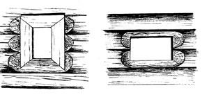 Рис.16. Косящное иволоковое окно. По: БородаевВ.Б., Контев А.В. Уистоков истории Барнаула. Барнаул, 2000. Рис. 46-47.
