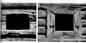 Рис.17. Окна вбашнях Сибирских острогов. По: Крадин Н.П. Русское деревянное оборонное зодчество. М., 1988, рис. 28-29.