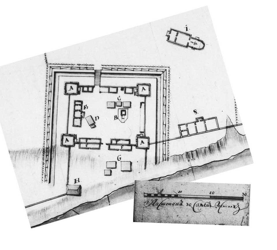 Рис.3. План Бийской крепости 1718г.