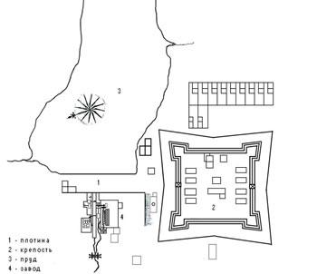 Рис.4. План «малой» крепости Колывано-Воскресенского завода. 1730-егг.
